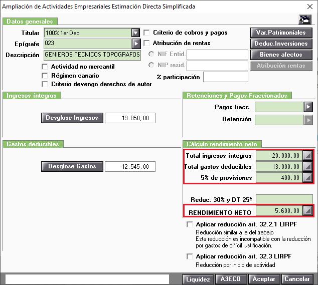 Actividades estimacion directa total ingrsos y gastos y provisiones y rendimiento neto