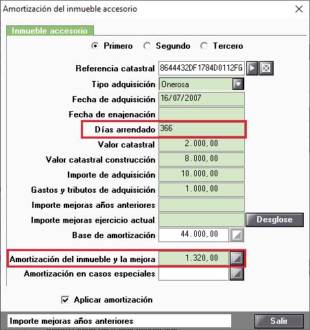 Amortizacion Inmueble Accesorio Dias Arrendado