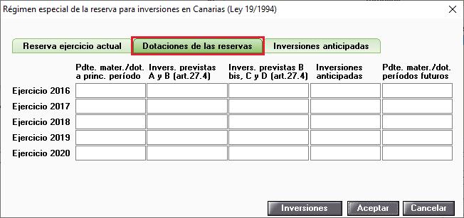 Regimen especial de la reserva para inversiones en Canarias Dotaciones de las reservas