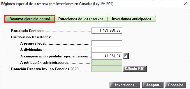 Regimen especial de la reserva para inversiones en Canarias Reserva ejercicio actual