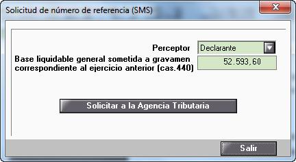 Solicitud de numero de referencia SMS