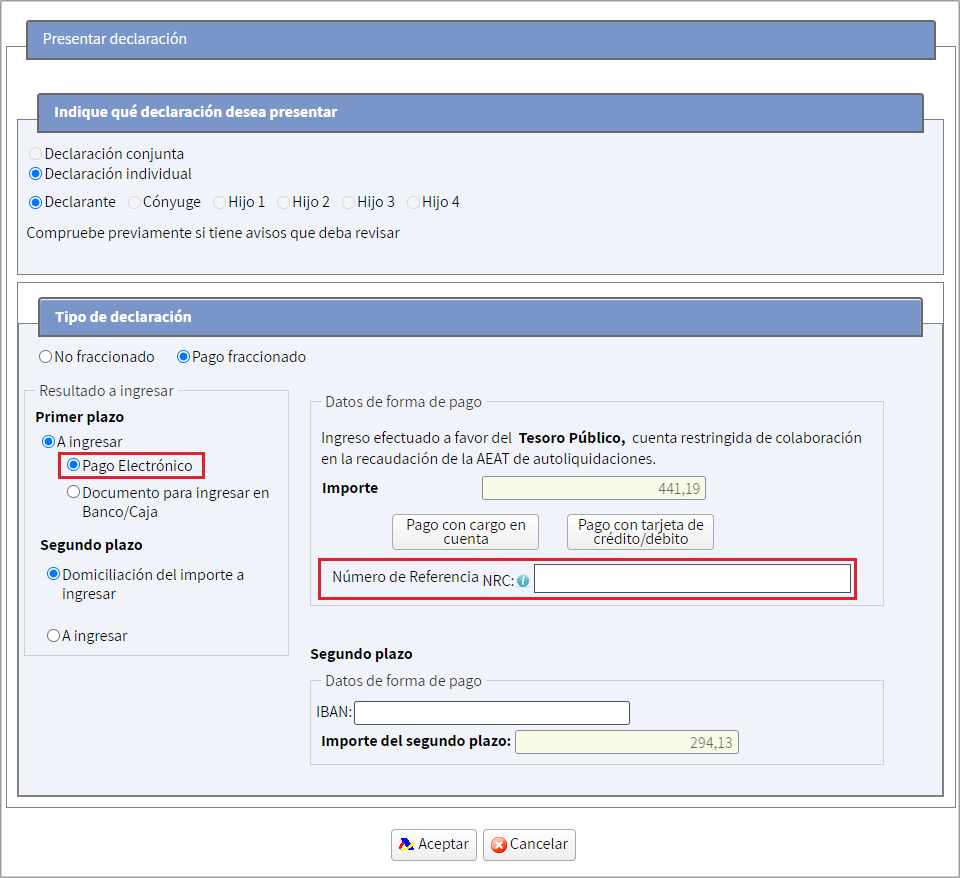 Renta WEB Pago electronico NRC