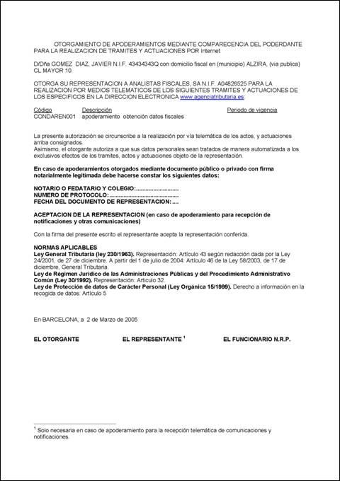 Carta autorización datos fiscales