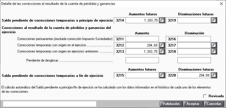 Detalle de las correcciones al resultado de la cuenta de perdidas y ganancias Arrendamiento financiero y similar