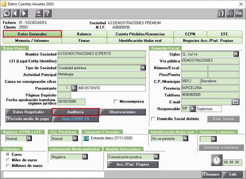 Datos Cuentas Anuales Datos Generales Auditoria