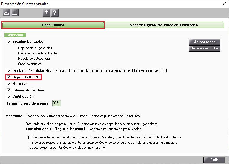 Presentacion Cuentas Anuales Papel Blanco Hoja COVID 19