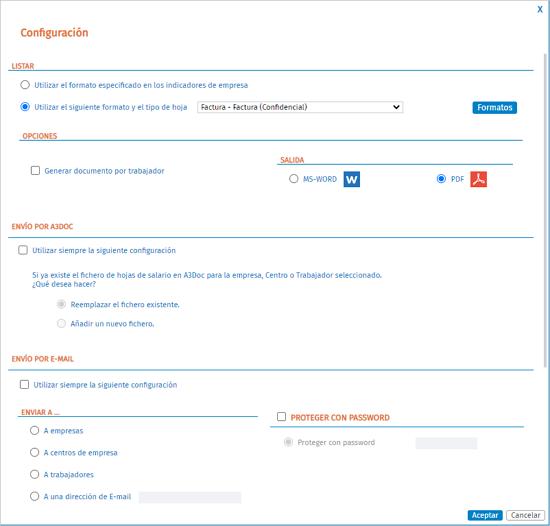 configuracion listado nomina