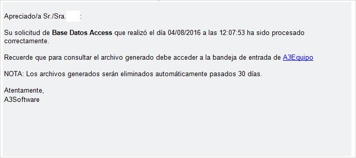 mail base datos access