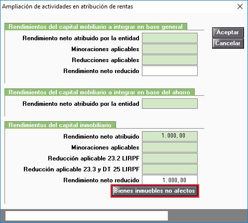 Ampliación de actividades en atribución de rentas. Bienes inmuebles no Afectos