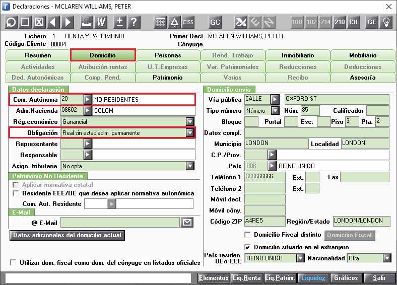 Domicilio Datos a informar 210