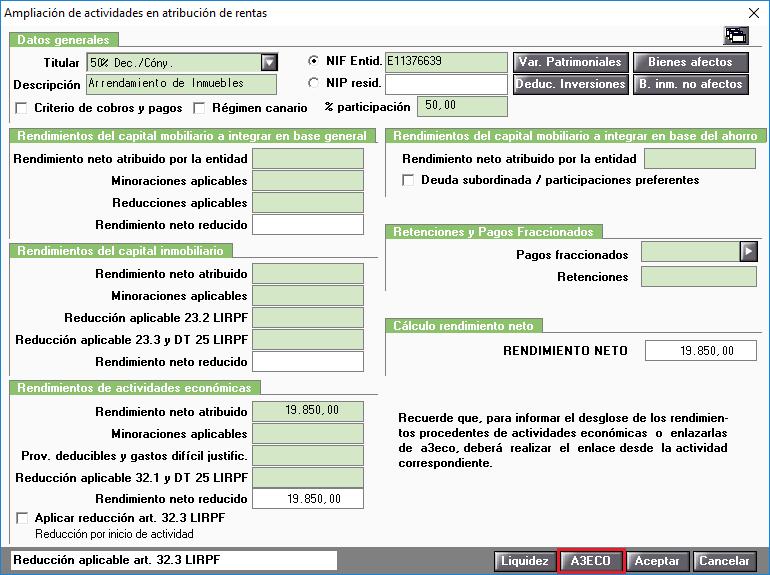 Ampliación de actividades en atribución de rentas. Enlace con eco