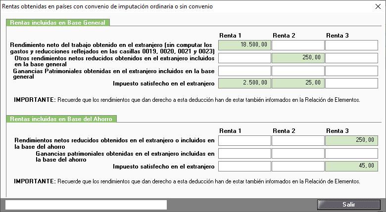 DDII Rentas obtenidas en paises con convenio de imputacion ordinaria o sin convenio