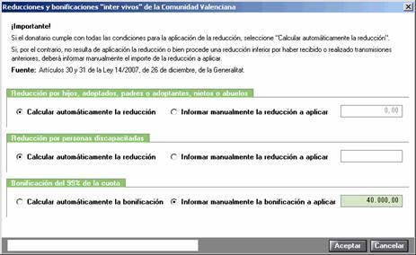 """Reducciones y bonificaciones """"inter vivos"""" de la Comunidad Valenciana"""