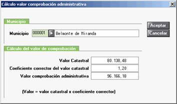 Cálculo valor comprobación administrativa