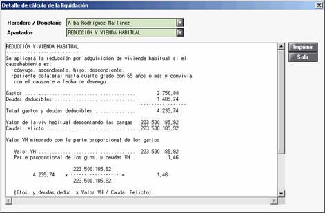 Detalle de cálculo de la liquidación