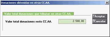Donaciones obtenidas en otras CCAA