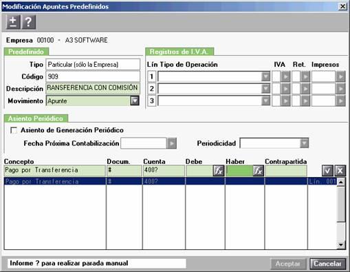Modificación de Apuntes Predefinidos