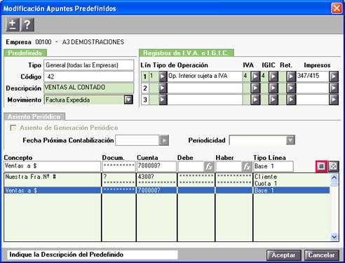 Modificación Apuntes Predefinidos