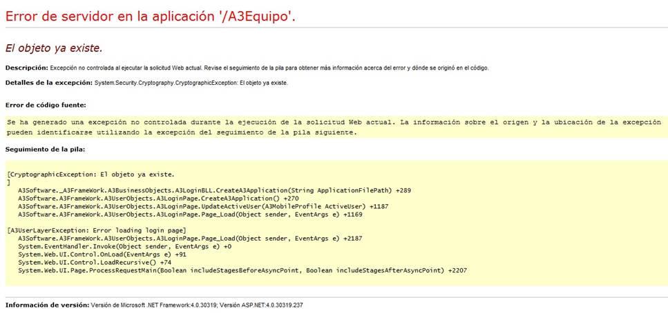 Error de servidor en la aplicación 'A3Equipo'
