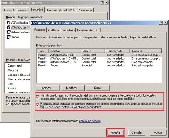 Configuración de seguridad avanzada para MachineKeys