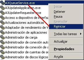 A3QueueService.exe reiniciar