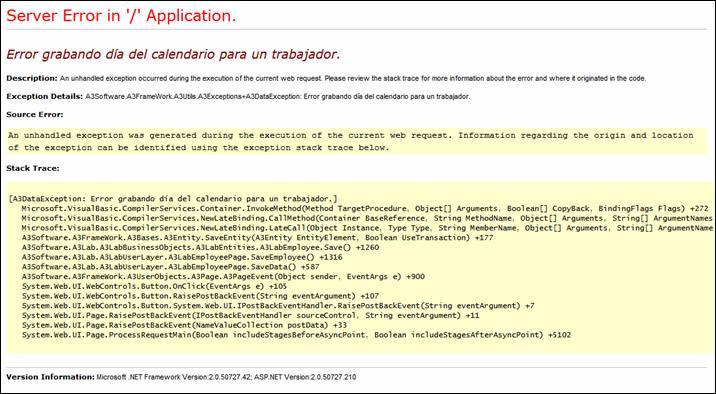 Server Error in '/' Application. Error grabando día del calendario para un trabajador
