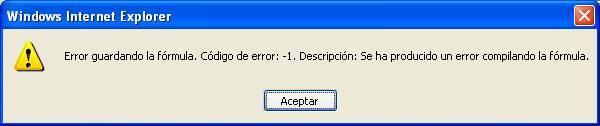 Error guardando la fórmula. Código de error:-1. Descripción: Se ha producido un error compilando la fórmula