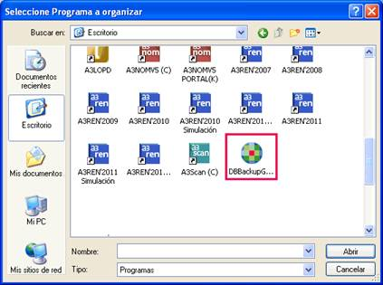 Seleccione Programa a organizar