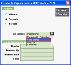 Listado de Pagos a Cuenta 2012
