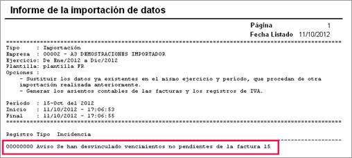 Informe de la Importación de datos