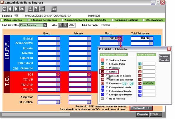 Listada en mantenimiento de datos