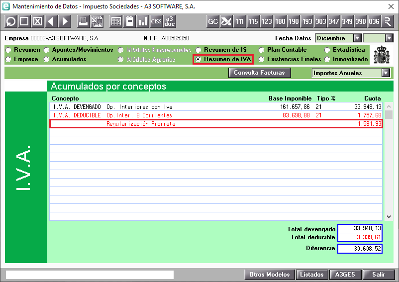 Prorrata general en el Resumen de IVA del MAntenimiento de Datos
