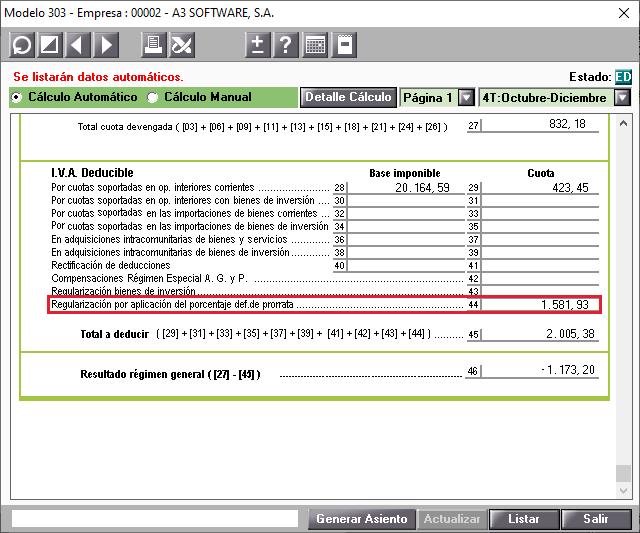 Modelo 303 Pagina 1 Casilla 44 Regularizacion por aplicacion del porcentaje definitivo de prorrata