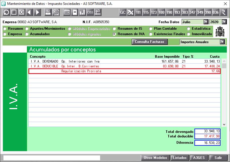 Prorrata especial en el Resumen de IVA del MAntenimiento de Datos