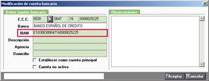 Modificación de cuenta bancaria