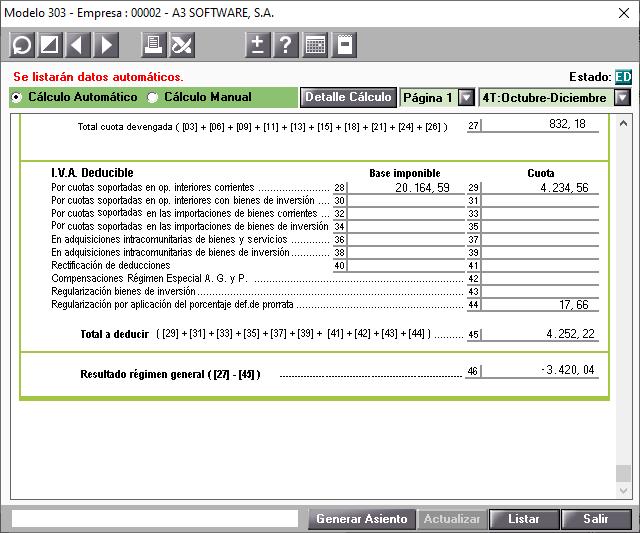 Modelo 303 Pagina 1 Casilla 44 Regularizacion por aplicacion del porcentaje definitivo de prorrata especial