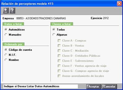 Relación de perceptores modelo 415