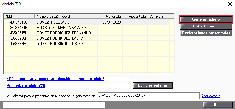 Generar fichero 720