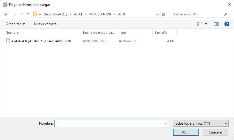 Modelo 720 Elegir archivos para cargar
