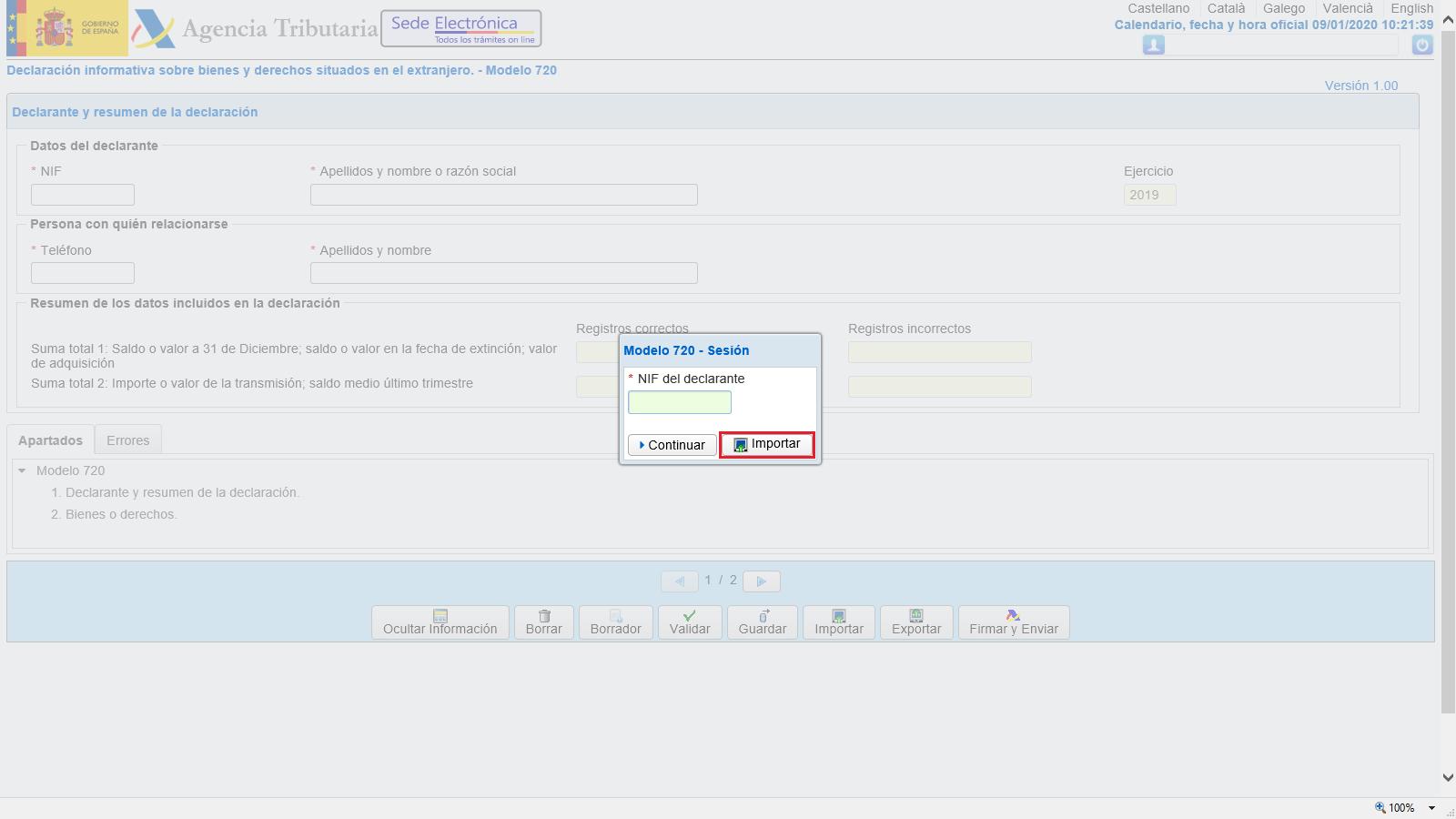 Modelo 720 Importar Web AEAT