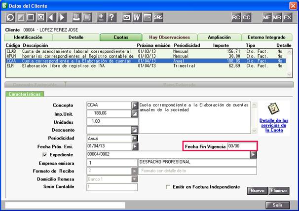 Cuotas en Datos Cliente
