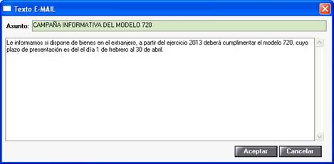 Texto email