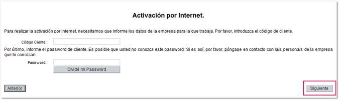 Activación por internet