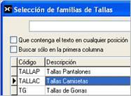 Selección de familias de Tallas