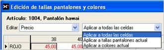 Edición de tallas, pantalones y colores