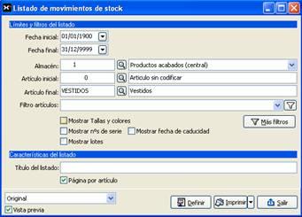 Listado de movimientos de stock