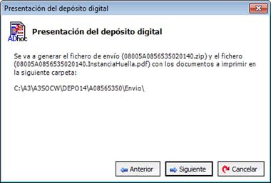 Asistente de presentación depósito digital