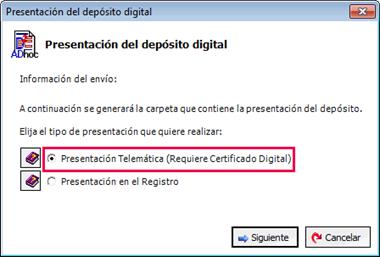Asistente presentación depósito digital