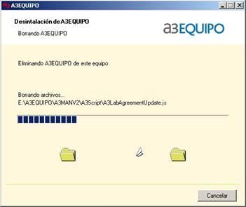 proceso de desinstalación de a3EQUIPO