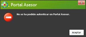 No se ha podido autentificar en Portal Asesor